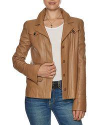 Chanel Tan Lambskin Leather Western Jacket (size M) - Brown