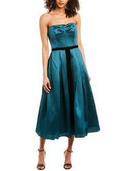 Marchesa notte Strapless Printed Mikakdo Pique Midi Dress - Blue