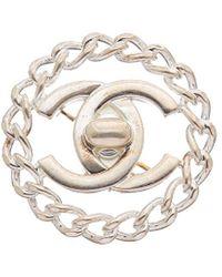 Chanel Silver-tone & Chain Cc Turnlock Pin - Metallic