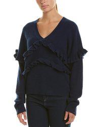 White + Warren Ruffle Trim Cashmere Sweater - Blue
