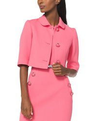 Michael Kors Cropped Stretch Crepe Wool Jacket - Pink