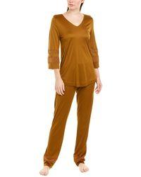 Hanro Silk-blend Pyjama - Orange