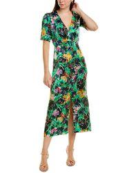Saloni Eden Silk Maxi Dress - Green