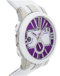 Ulysse Nardin Executive Dual Time Purple Dial Diamond White Leather Ladies Watch -10-30-07