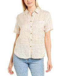 Three Dots Button-down Linen Shirt - Brown