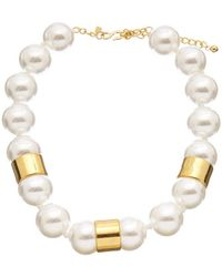Kenneth Jay Lane 22k Plated 25mm Faux Pearl Necklace - Metallic