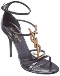Saint Laurent Cassandra 100 Leather Sandal - Black