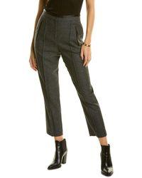Rebecca Taylor Herringbone Wool & Silk-blend Pant - Grey