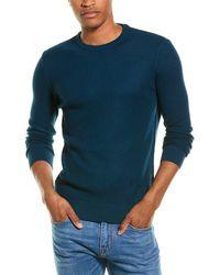 Stone Rose Waffle Wool-blend Crewneck Sweater - Blue