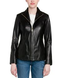 Cole Haan - Black Leather Jacket - Lyst