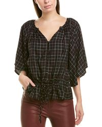 Michael Stars Womens Woven Plaid Cascade Sleeve Top