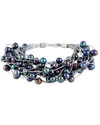 Splendid Splendid Freshwater Pearls Rhodium Plated 6-7mm Freshwater Pearl Bracelet - Blue