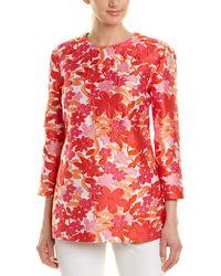 Michael Kors Floral Jacquard 3/4-sleeve Tunic - Pink