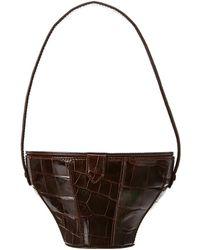 STAUD Croc-embossed Leather Bucket Bag - Brown
