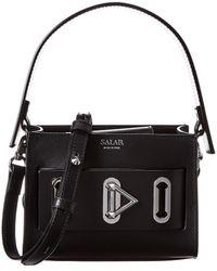 Salar Ludo Leather Shoulder Bag - Black