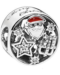 PANDORA Silver Cz & Mixed Enamel Christmas Joy Charm - Metallic