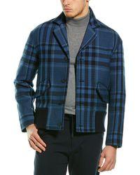 Valentino Silk-trim Wool Coat - Blue