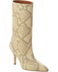 Paris Texas Snake-embossed Leather Boot - Yellow