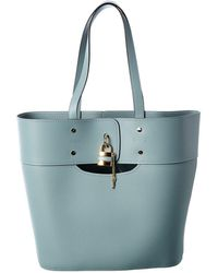 Chloé Aby Medium Leather Tote - Blue