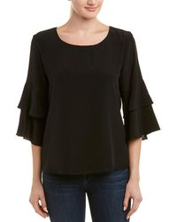 Lavender Brown Tiered Sleeve Silk Top - Black