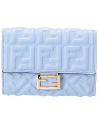 Fendi Ff Leather Continental Wallet - Blue