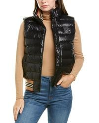 Burberry Icon Stripe-detail Down Puffer Vest, Black