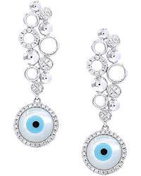 Diana M. Jewels . Fine Jewellery 14k 0.37 Ct. Tw. Diamond Earrings - Blue