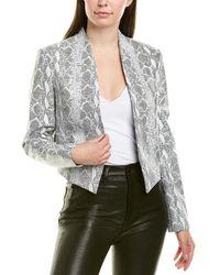 Alice + Olivia New Harvey Leather Jacket - White