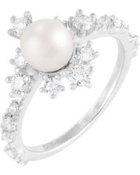 Splendid Splendid Pearl Rhodium Plated 6-7mm Pearl Cz Ring - White