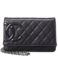 Chanel Black Lambskin Leather Wallet On Chain