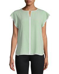 Calvin Klein Keyhole Flutter-sleeve Top - Green