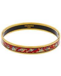 Hermès Gold-tone Printed Enamel Narrow Bangle - Metallic