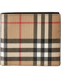 Burberry Check Leather Clutch - Natural