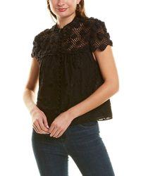 Alice + Olivia Ilaria Crochet Top - Black
