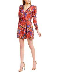 The Kooples Summer Night Floral - Print Silk Mini Dress - Red