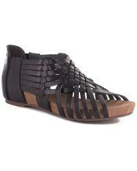 Chocolat Blu Viva Leather Wedge Sandal - Black