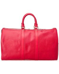 Louis Vuitton - Red Epi Leather Keepall 45 - Lyst