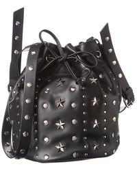 RED Valentino Sky Combat Leather Bucket Bag - Black