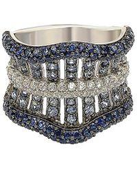 Suzy Levian Silver 3.55 Ct. Tw. Sapphire Ring - Metallic