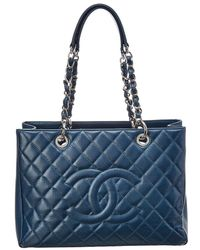 Chanel - Blue Quilted Caviar Leather Grand Shopping Tote - Lyst