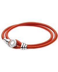PANDORA Charm Carrier Silver Cz Spicy Orange Double Leather Bracelet - Red