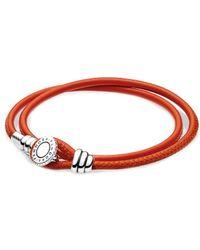PANDORA Silver Cz Spicy Orange Double Leather Bracelet - Red