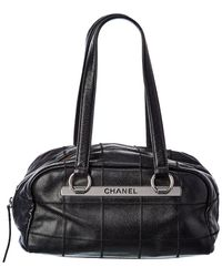 Chanel Black Quilted Caviar Leather Chocolate Bar Boston Bag