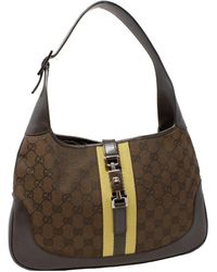 Gucci Brown Canvas & Leather GG Canvas Jackie O Hobo Bag
