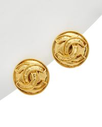 Chanel Gold-tone Cc Round Clip-on Earrings - Metallic