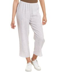 Eileen Fisher Petite Straight Crop Linen Pant - White