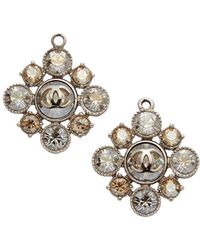 Chanel Silver-tone Rhinestone Cluster Earrings - Metallic