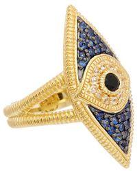 Judith Ripka - 14k Yellow Gold Over Silver 0.58 Ct. Tw. Gemstone Evil Eye Ring - Lyst