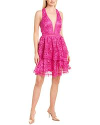 THEIA Lace Cocktail Dress - Pink