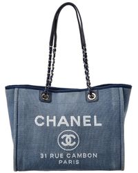 Chanel Blue Canvas Large Deauville Tote
